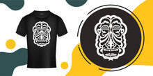 The Face Of An Indian In The Form Of Maori Patterns. Outline For T-shirts, Cups, Flags, Phone Cases And Prints. Vector