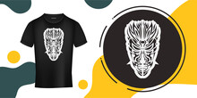 The Mask Of The Gods In The Form Of Maori Patterns. Outline For T-shirts, Cups, Flags, Phone Cases And Prints. Vector Illustration.