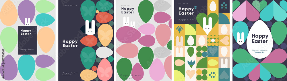 Fototapeta Happy Easter. Patterns. Modern geometric abstract style. A set of vector Easter illustrations. Easter eggs, rabbit. Perfect for a poster, cover, or postcard.