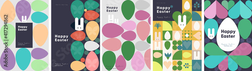 Fototapeta Happy Easter. Patterns. Modern geometric abstract style. A set of vector Easter illustrations. Easter eggs, rabbit. Perfect for a poster, cover, or postcard. obraz