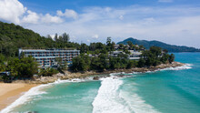 Top View Of Thai Beach, Phuket, Thailand. Tropical White Pal Sandy Beach With Turquoise Clear Water And Trees On The Day Without People, Surin Beach.