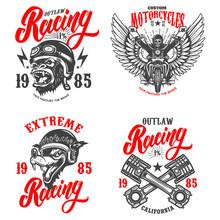 Set Of The Racer Emblems. Crossed Pistons, Gorilla Biker, Motorcycle, Biker Skeleton. Design Element For Logo, Label, Sign, Emblem, Poster, T Shirt. Vector Illustration