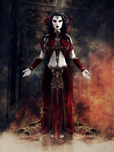 Fantasy Gothic Sorceress In A Red Dress Standing In A Hallway Filled With Smoke. 3D Render - The Woman In The Image Is A 3D Object.