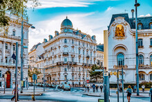 VIENNA, AUSTRIA- SEPTEMBER 10, 2015: Cityscape  Views Of One Of Europe's Most Beautiful Town- Vienna. Peoples On Streets, Urban Life Vienna. Austria