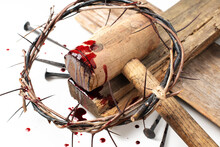 Good Friday, Passion Of Jesus Christ. Crown Of Thorns And Bloody Nails Isolated On White. Christian Easter Holiday. Top View, Copy Space. Crucifixion, Resurrection Of Jesus Christ. Gospel, Salvation