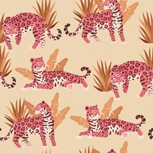 Seamless Vector Pattern With Cute Pink Jaguar