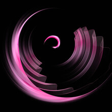 Pink Wavy, Transparent, Light Veils Fly In A Circle On A Black Background. Abstract Fractal Background. 3d Rendering. 3d Illustration
