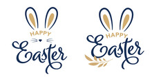 Happy Easter Concept Design, Story Template And Banner Set With Bunny Ears
