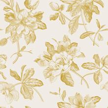 Magnolia Grandiflora. Floral Seamless Pattern. Vector Vintage Botanical Illustration. Gold