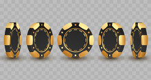 Set Of 3d Gold And Black Poker Chips, Token With Shadow On Transparent Background. Vector Illustration For Card, Casino, Game Design, Flyer, Poster, Decor, Banner, Web, Advertising.