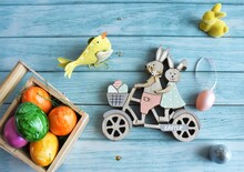 Traditional Easter Decorations And Colored Eggs