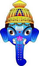 Lord Ganesha And Goddess Durga (paper Mache) Mask. It Can Be Used For A Coloring Book, Textile/ Fabric Prints, Phone Case, Greeting Card. Logo, Calendar. In Kalamkari /Madhubani Style