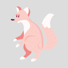 Cute Cartoon Fox Play Baby. Pastel Animals Print For Poster. Character For Giftcard For Baby Shower. Wonderful Print For Decor Of A Children's Bedroom. For Baby Clothes, Poster, Books, Baby Food.