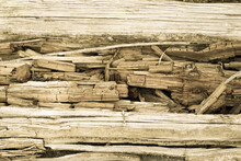 Old Rotten Wooden Plank Texture Background. An Old Rotten Wooden Surface. Textures And Patterns Of Old Wood.