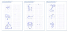 Educational Game For Attention For Children Of Kindergarten And Preschool Age. Repeat The Image By Example. Connect Dots With Straight Lines And Draw Icon. Worksheet For Children Coloring Book.