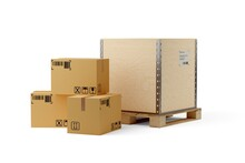 Single Wooden Transportation Crate On Wooden Pallet And Carton Cardboard Boxes Over White Background, Freight, Cargo, Delivery Or Storage Concept