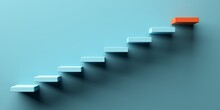 Blue Stairs Leading To Orange Top Step, Success, Top Level Or Career Minimal Modern Concept