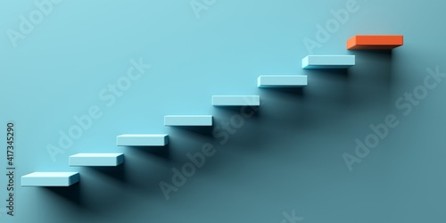 Canvas Print Blue stairs leading to orange top step, success, top level or career minimal mod