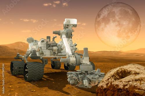 Slika na platnu futuristic mars rover, expedition 3d illustration Elements of this image furnish