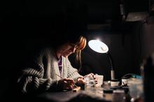 Woman Making Handmade Jewelry