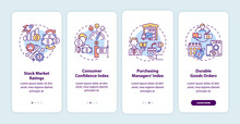 Economic Recovery Indicators Onboarding Mobile App Page Screen With Concepts. Help Market Observer Walkthrough 4 Steps Graphic Instructions. UI Vector Template With RGB Color Illustrations