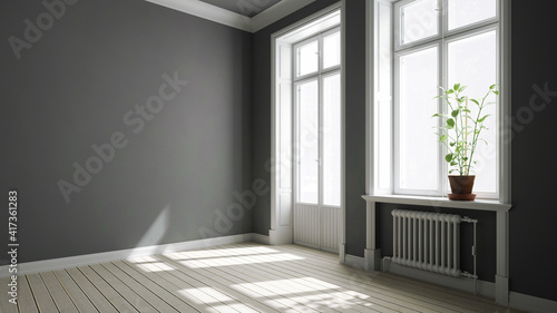 Altbauwohnung mit grauen Wänden und Balkontür © Robert Kneschke