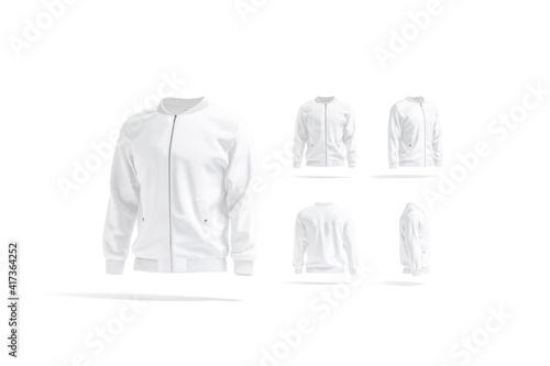 Tela Blank white bomber jacket mockup, different views set