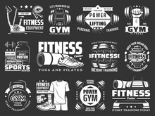 Gym Fitness Training, Sport Equipment Shop Icons. Sport Nutrition Protein, Yoga And Pilates Center, Power And Weight Training, Fitness Clothing Store Badge. Dumbbell, Barbell And Exercise Bike Vector