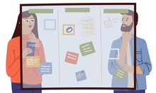 Woman Man Thinking. Couple Glass Planning Board With Tasks. Team Brainstorm, Detectives At Work. Business Process, Creative Start Up Or Working Vector. Team Man And Woman Near Glass Board Illustration