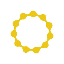 Abstract Dotted Vector, Round Yellow Frame From Dotes On White White Background.