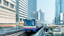 Skytrain Mass Transit With Cityscape.