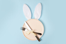 Festive Easter Table Setting With White Easter Bunny Ears