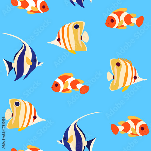 Obraz Simple trendy seamless pattern with coral fish - clown fish, butterfly fish and moorish idol fish. Flat illustration. - fototapety do salonu