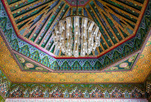 Beautiful Large Chandelier On The Ceiling In A Traditional Oriental Style.