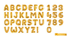Gold Balloons, Alphabet Letters And Numbers. 3d Vector Realistic Symbols. Festive Decorations Set