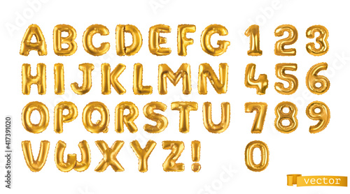 Gold balloons, alphabet letters and numbers. 3d vector realistic symbols. Festive decorations set © Natis