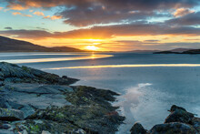 Beautiful Sunset At Low Tide Over Luskentyre Beach