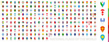 All Official National Flags Of The World Sorted Alphabetically By Continent. Vertical Pin Icon.
