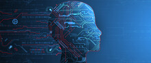 Artificial Intelligence (AI) And Big Data Concept. Machine Cyber Mind.  Technology Vector Background.