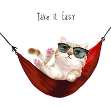 Take It Easy Slogan With Cute Cat Sunglasses Relaxing Red Hammock Illustration