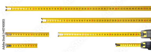Fotografia Set with measuring tapes on white background, banner design