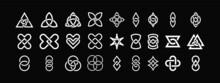 Celtic Knots Set . Shapes Interlocking Each Other. Web Design Elements. Isolated On Black Background. Vector Illustration.