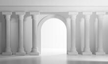 Bright Shining Door Classic Column Pillars Colonade Interior Architecture 3D Rendering