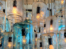 Close Up Of Old-fashioned Glass Mason Jars Lighting Fixture