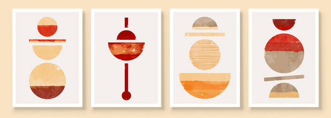 Mid Century Modern Design. A trendy set of Abstract Orange and Red Hand Painted Illustrations for Wall Decoration, Social Media Banner, Brochure Cover Design Background. Aesthetic watercolor.