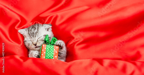 Cute tabby kitten holds tiny gift box and sleeps on a red satin bedding.  Top down view. Empty space for text © Ermolaev Alexandr