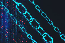 Blockchain Hi-speed Internet Technology Concept With Digital Blue Chain And Innovation Binary Code Background