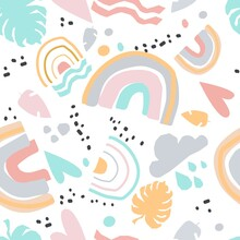 Fluid Color Badges Set. Abstract Shapes. Beautiful Exotic Plants. Trendy Summer Hawaii Print. Seamless Pattern