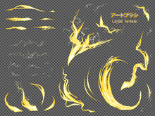 光属性のエフェクト風_攻撃と雷のアートブラシ_イラスト素材セット
