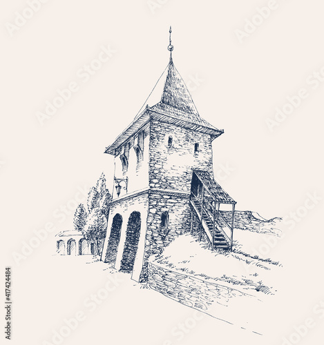 Foto Old city citadel stone gate artistic hand drawing